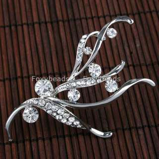 Lovely Clear Crystal Silvery Fashion Lady Pin Brooch 1x