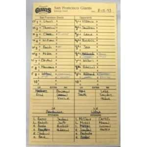 8 13 93 San Francisco Giants Vs. Chi Cubs Lineup Card