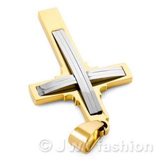MENS Gold Silver Stainless Steel Cross Necklace Pendants vj979