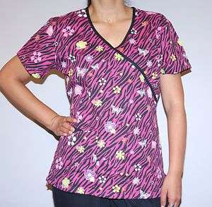 Short Sleeve Mock Wrap Zebra Print Scrub Top   Jadyn Rose Label Fall