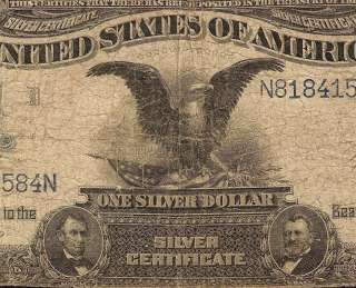 LARGE 1899 $1 DOLLAR BILL SILVER CERTIFICATE EAGLE NOTE Fr 232 OLD