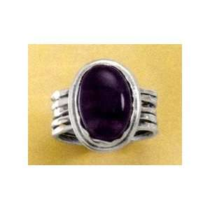 Oxidized Sterling Silver Ring, 14x10mm Oval Amethyst Cabochon Ring
