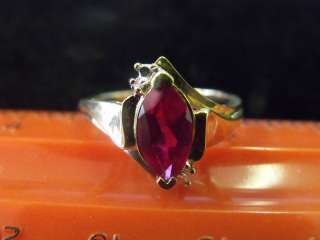 ESTATE VINTAGE NEW OLD STOCK SYNTHETIC RUBY DIAMOND 10K YELLOW GOLD