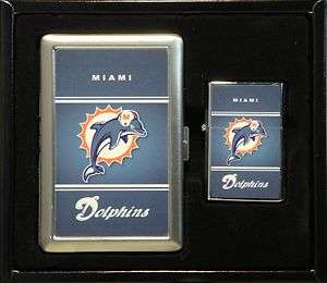 MIAMI DOLPHINS LOGO CIGARETTE CASE / WALLET AND LIGHTER GIFT SET NEW