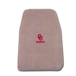 Beige Universal Fit Front Two Piece Floormat with NCAA Oklahoma Logo