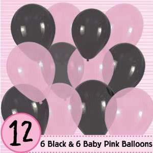 Latex Balloons   6 Baby Pink & 6 Black Baby Shower Balloons: Toys