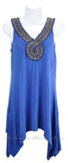 New FYLO Beaded BLING Womens SLEEVELESS Shirt Top Asymmetrical Blue