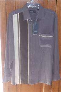 NWT Nat Nast Long Sleeve Silk Gray Striped Shirt XL