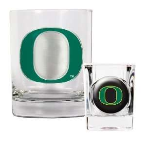 Oregon Ducks Rocks Glass & Shot Glass Set: Sports