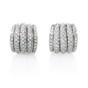 Garavelli Diamond 18k White Gold Huggie Earrings Jewelry