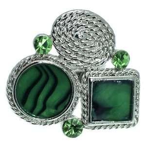 NRG 0009G Newark Silver Green Crystal Adjustable Fashion
