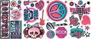 GIRLS ROCK AND ROLL WALL STICKERS Guitars Decals Decor 034878593173