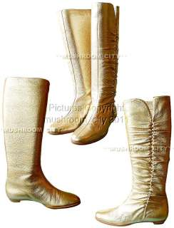 Jimmy Choo Gold Ruffled Leather Knee High Boots 35.5