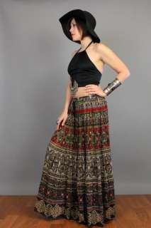 Ethnic BOHO Floral Batik Draped INDIA GAUZE Festival Hippie SKIRT XS L