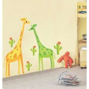 Colorful Giraffe and Cactus   Loft 520 Home Decor Vinyl Mural Art Wall