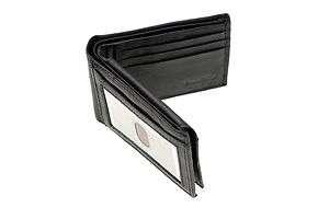 Black leather mens bifold wallet cowhide top grain