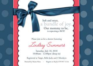 Personalized Baby Shower Navy Red Polka Dot Invitations