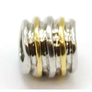 TOC BEADZ Gold & Silver Tone Ribbed 7mm Slide on Bead Jewelry
