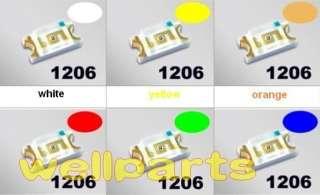 120 x SMD SMT 1206 White Red Green Blue Yellow Orange LED MIX Super
