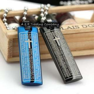 CH14 Fashion Stainless Steel Bible Cross Plate Necklace