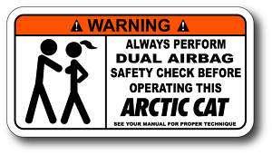 Airbag Check Arctic Cat Sticker Decal M6 M8 M1000 HCR