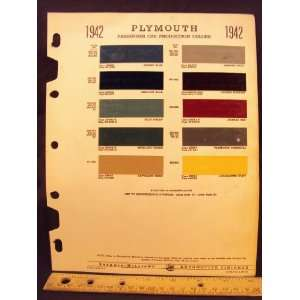 com 1942 PLYMOUTH Paint Colors Chip Page Chrysler Cororation Books