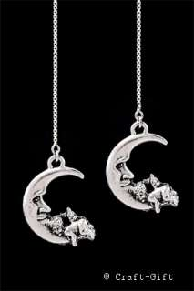 Sleeping Angel on Moon Sterling Silver SS Ear Thread Threader Earrings
