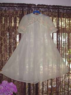 SEAMPRUFE Dbl Nylon Peignoir Sweep Robe w Pink Chiffon Roses S