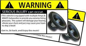 MMATS Subwoofer BASS Stereo Warning Sticker Decal Sub