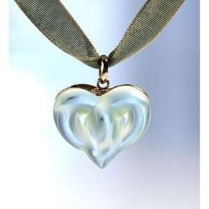Lalique Double Heart Gold Light Green Necklace   7633600