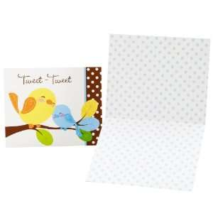 Sweet Tweet Bird Blue   Thank You Notes (8) Party Supplies