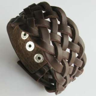 BROWN Leather 35mm Cuff Bracelet Wristband xmas GIFT