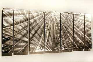 Abstract Silver Metal Wall Art Decor Sculpture Meteor Mirage