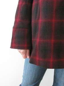 MINT STEVE MADDEN RED BLACK PLAID WOOL LADIES BABY DOLL SWING PEA