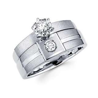 14k White Gold Diamond Engagement Wedding Two Ring Set