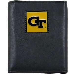 Georgia Tech Yellow Jackets Black Tri fold Leather