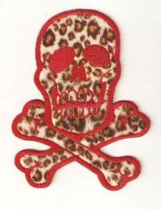 on Embroidered Patch Skull and Cross Bones 6 Red on Fuzzy Leopard