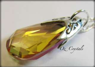 Swarovski Crystal Brandy Pendant   Necklace with Sterling Silver