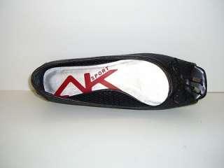 Anne Klein Sport Black Leather Women Shoes Flats Size 7