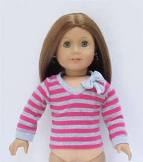 Doll Clothes Pink/ Gray Stripe Shirt fits American Girl & 18 Dolls