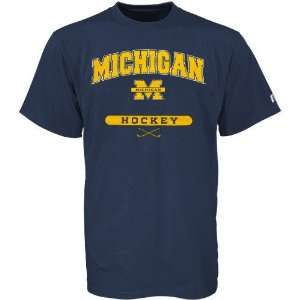Russell Michigan Wolverines Navy Blue Hockey T shirt