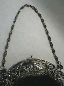 STERLING SILVER CHERUB HANDLED SATIN BAG / PURSE GORHAM EARLY 1900s