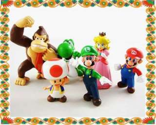 Lot 6 pcs Super Mario Bros Collection Figures Doll Toy