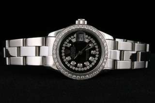 Ladies Rolex Black Diamond Dial Datejust Oyster Watch