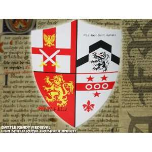 Battle Ready Medieval Lion Shield Royal Crusader Knight Armor: