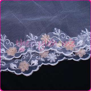 White Wedding Bridal Mantilla Veil Embroidery 1 Tier