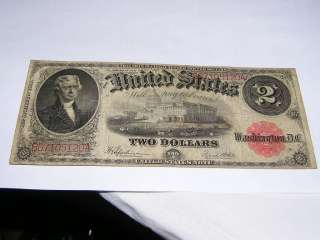 1917 United States Legal Tender Large Note $2 two Dollars USA 2897