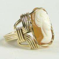 Italian Hand Carved Shell Cameo Ring 14K Rolled Gold