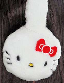 HELLO KITTY~ RED SATIN BOW WHITE PLUSH EAR MUFFS