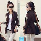 Cool spring frock pocket cloth drawstring waist casual jacket Brown